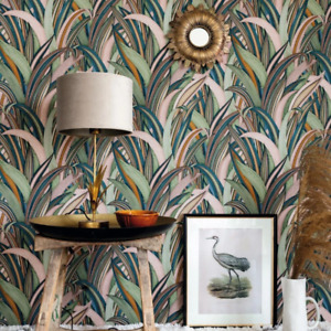 Rasch Pink Green and Blue Tropical Leaves Wallpaper Luxury Vinyl 541243