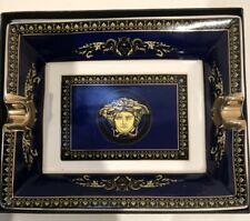 VERSACE Print Blue & Gold CIGAR ASHTRAY | EXCELLENT CONDITION