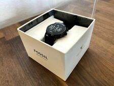 Fossil Gen 5 Carlyle Smartwatch 44mm Stainless Steel Black Silicone Band FTW4025