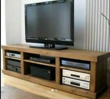 New Real Solid Wooden Entertainment TV Unit Rustic Plank Pine Furniture