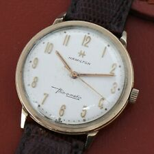 Vintage HAMILTON Thin O Matic Gold Tone Linen Dial Men's Watch Leather Band 34mm