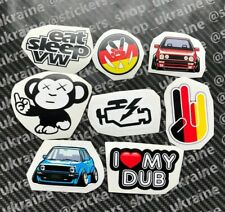 x8 Volkswagen stickers decals set VW Auto DUB GOLF MK2 beetle GTI sticker decal