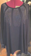 BNWT M & S TOP SIZE 18 BLACK STRETCH JERSEY JEWELLED DETAIL FRONT CHIFFON SLEEVE