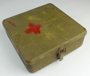 Surplus Chinese Army Military Storage Box Medical kit Steel Tool Case 8x8x2.75''