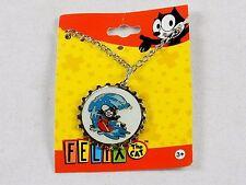 Felix The Cat Necklace, Silver Tone Bottle Cap Pendant ~ Felix Surfing, #YNC1148