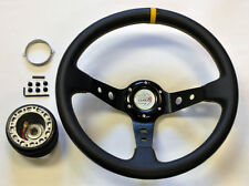 Civic Integra 35cm JDM Black Yellow Dish Steering Wheel w/ Boss Kit Hub Adapter