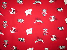 Wisconsin Badgers Red Logo Sports Cotton Fabric Fq