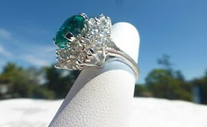 ESTATE VINTAGE PANETTA STERLING EMERALD Clear CZ RING Size 7 AMAZING ON