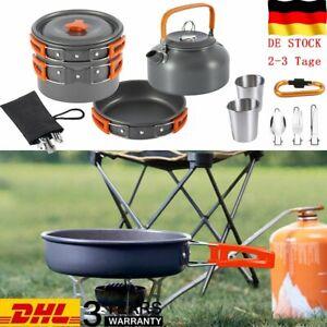 8 TLG Camping Kochgeschirr Set Faltbare Topf & Pfanne Wasserkocher für Outdoor