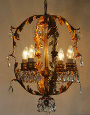 Antique Xlrg Italian Tole Gilt Crystal Chandelier Vintage Rare Shape