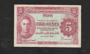 5 CENTS VERY FINE BANKNOTE FROM BRITISH MALAYA 1941 PICK-7