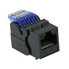 Cat5E RJ45 Network LAN Ethernet Tool Less Keystone Jack Snap-in Insert Black