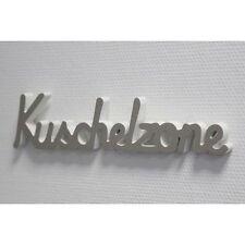 Schriftzug Kuschelzone Holz grau weiß 40cm Wand Deko und zum aufstellen NEU