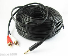 100Ft 30M Aux 3.5mm Gold Male Plug to 2 RCA Gold Male Stereo Audio Y Cable Cord