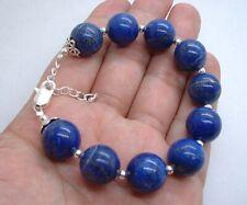 Smooth Bold Blue Lapis Lazuli Sterling Silver Bracelet!! A0607