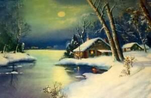 Snowy Winter Cabins Stream Moon Light Night Wm Thompson Vintage art