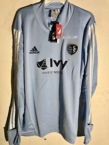 Adidas Long Sleeve MLS Jersey Kansas City Sporting Team Light Blue sz XL