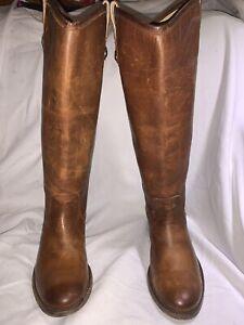 """Frye """"Melissa Button"""" Cognac Leather Riding Boots Women's Size 6.5 B 3477172"""