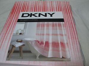 NEW DKNY  FREQUENCY Fabric Shower Curtain 72x72 - Coral and White Stripe NEW