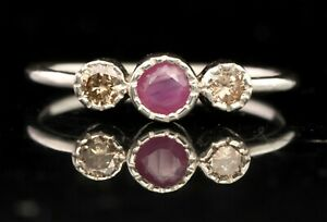 0.66 CT Natural Diamond And Ruby Engagement Band Ring   SDR 6