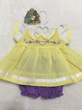 Authentic Vintage Cabbage Patch Kids Clothes Doll Cpk Outfit Set Dress Bloomers