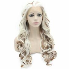 Long Wavy White Auburn Mix Two Tone Synthetic Lace Front Wig Natural
