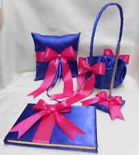 Royal Blue Fuchsia Flower Girl Basket Ring Pillow Guest Book Pen Any Colors