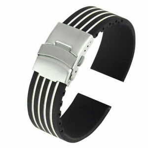 Watch Strap Silicone Rubber Watch Band Replacement Wrist Belt 18mm  BLACK/WHITE