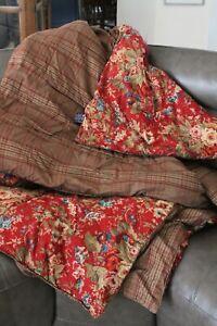 Chaps Ralph Lauren Summerton Floral Red Reversible Full Comforter 86 x 90