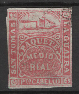 La Guaira St. Thomas  1884 medio real, imperf. forgery by Spiro brothers MNG/hin