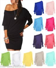 Womens Long Sleeve Off Shoulder Mini Batwing Tunic Dress Top UK 8-26