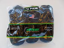 Hytest Made In USA Low Cut Socks Size 10-13 Twelve Pairs Black 82% Cotton