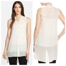 Eileen Fisher Mandarin Collar Button Front Silk Tunic Top NWT Size L