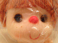 Vintage Ice Cream Doll Molded Rubber Rust Brown Yarn Hair Blue Open Close Eyes