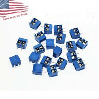 50 Pcs 2-Pin Screw Terminal Block Connector 5.08mm Pitch PCB Mount Blue 50X US