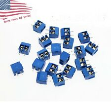 100 Pcs 2 Pin Screw Terminal Block Connector 508mm Pitch Pcb Mount Blue 100x Us