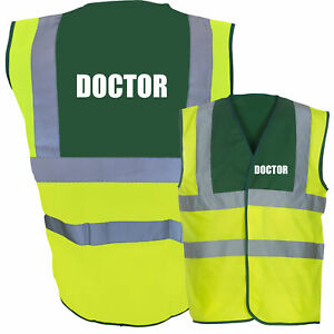 Doctor Hi Vis Two Tone Paramedic Green / Yellow Hi Viz Safety Vest / Waistcoa...