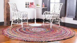Indian Braided Rug Cotton  Round Floor 4 Feet Rug Floor Area Yoga Mat Rag Rugs