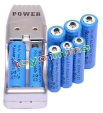 4+4 X AA AAA 1800mAh 3000mAh Rechargeable Battery 1.2V Blue + USB Charger