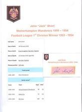 JACK SHORT WOLVERHAMPTON WANDERERS 1950-1954 RARE ORIGINAL HAND SIGNED CUTTING