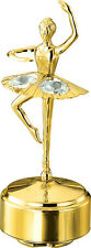 24K Gold Plated Studded Musical Ballerina Showpiece (Swarovski Crystals)For Gift