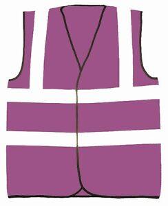 Purple Safety Reflective Hi Visibility Hi Viz Vest, 8 Sizes, Riding, Events etc