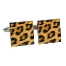 Leopardenmuster Design Rhodiniert Manschettenknöpfe Tier Pelz Aufdruck Neu Ovp