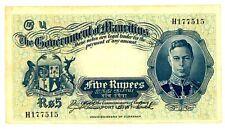 Mauritius .. P-22 .. 5 Rupees .. ND(1937) .. CH *VF*.