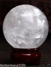 NATURAL  CLEAR QUARTZ CRYSTAL SPHERE BALL Iceland SPAR  40mm + Stand
