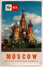 BEA – MOSCOW – BRITISH EUROPEAN AIRWAYS – AFFICHE ORIGINALE - TRÈS RARE - 1958