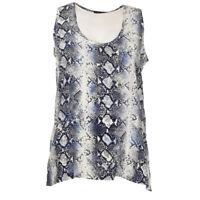 TOUPY Vest Top Blue Python Print Oversized Silk Size XS RRP £105 BG 193