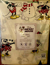 Pottery Barn Kids Mickey Mouse Christmas Holiday QUEEN Cotton Percale Sheet Set