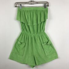 Vintage Glorias Fashion Terry Cloth Romper Jumper Swim Cover-up Beach Green Sz M