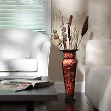 Embossed Square Vase Tall Metal Decorative Elegant Flower Floor Decor Red/Gold